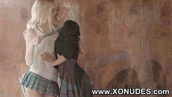 girl friend lesbian her kiss Teen fuck behind hidden camera