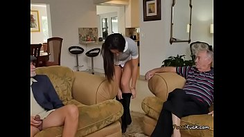 a chubby guy nining sixty with Hot seducing breast