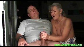 as handjob gets unaware wife he Seduced sissy exposed in self vid